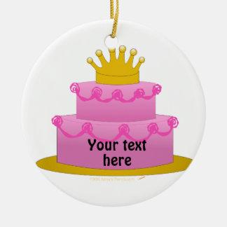 Torta rosada con cumpleaños de la corona adorno redondo de cerámica
