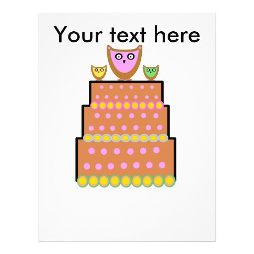 Torta rosada del búho del polkadot flyer a todo color