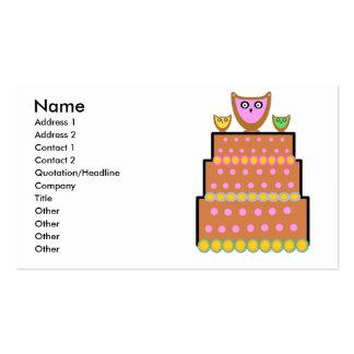 Torta rosada del búho del polkadot tarjetas de visita