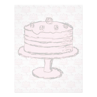 Torta rosada en modelo rosado de la torta folleto 21,6 x 28 cm