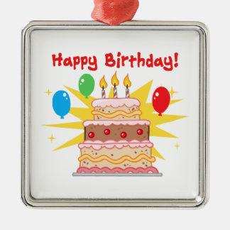 Torta y globos del feliz cumpleaños ornamentos de reyes
