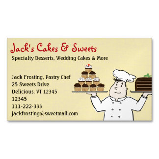 Torta y magdalenas de la tenencia del chef de tarjetas de visita magnéticas (paquete de 25)