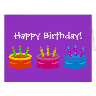 Tortas coloridas del feliz cumpleaños tarjeta de felicitación grande