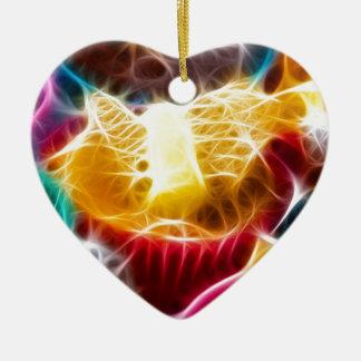 Tortas de hadas adorno navideño de cerámica en forma de corazón