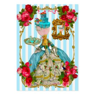 Tortas del azul y tarjetas de visita color de rosa