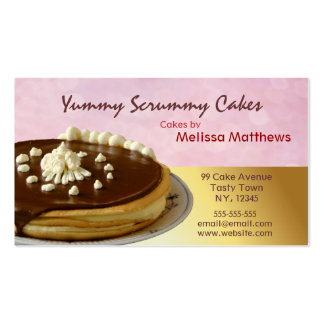 Tortas deliciosas rojas y tarjeta de visita amaril