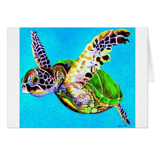 Tortuga de la natación tarjeta de felicitación