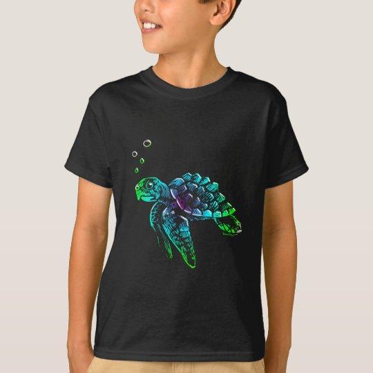 Tortuga de mar de Scratchboard de la bella arte Camiseta