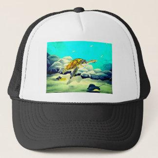 Tortuga de mar que pinta el mar azul hermoso gorra de camionero
