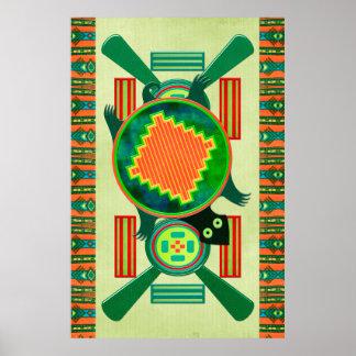 Tortuga del arte popular del nativo americano poster