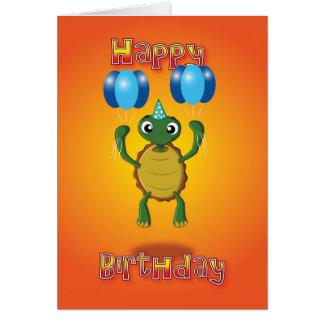 tortuga - globos - feliz cumpleaños tarjeta de felicitación