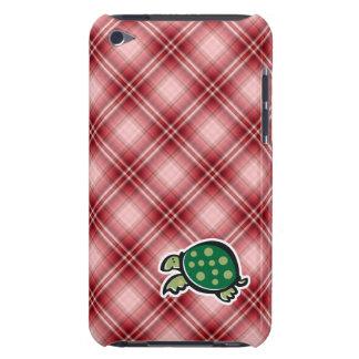 Tortuga linda de la tela escocesa roja barely there iPod cobertura