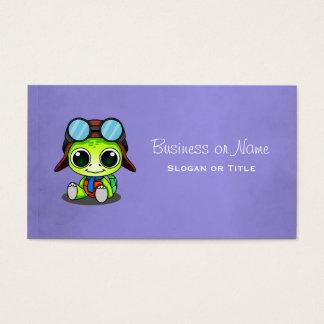 Tortuga linda del dibujo animado en gorra del tarjeta de negocios