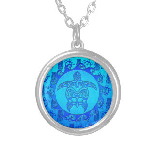 Tortuga tribal azul Sun Colgante Redondo