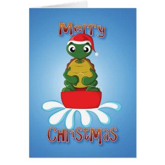 tortuga - trineo - Felices Navidad Tarjeta De Felicitación
