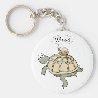 ¡tortuga y caracol Whee! Llavero Redondo Tipo Chapa
