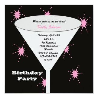 Tostada adulta de la fiesta de cumpleaños para su invitación 13,3 cm x 13,3cm