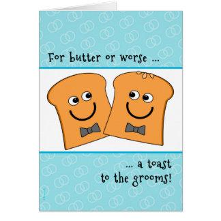 Tostada divertida de dos de los novios enhorabuena tarjeta de felicitación