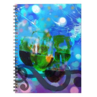 Tostar los vidrios y las notas de la música cuaderno