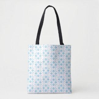 Tote abstracto floral azul claro y blanco bolsa de tela