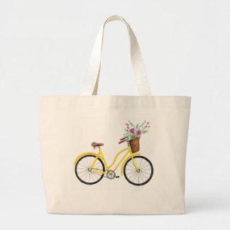 Tote amarillo dulce de la bici bolso de tela grande