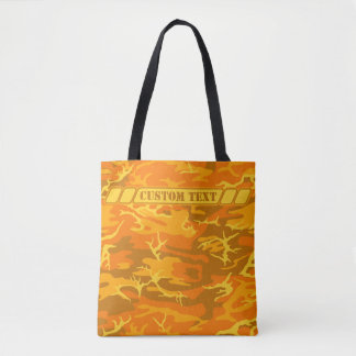 Tote anaranjado de Camo del otoño con el texto de Bolsa De Tela
