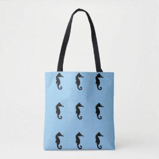Tote azul del seahorse bolsa de tela