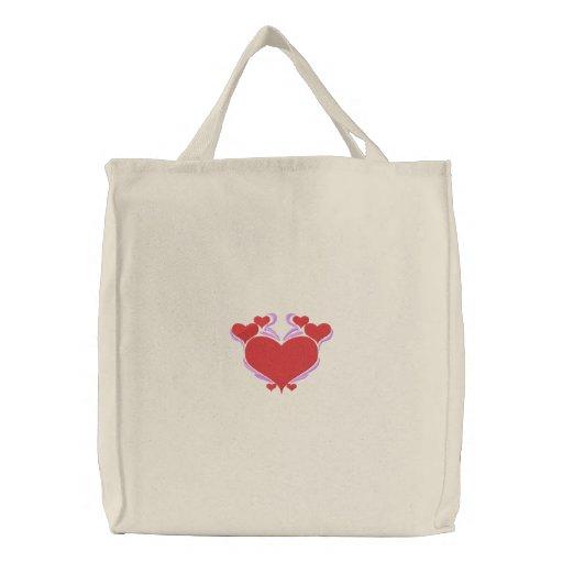 Tote bonito de los corazones del amor bolsa bordada