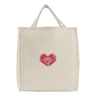 Tote color de rosa del corazón bolsa de mano bordada