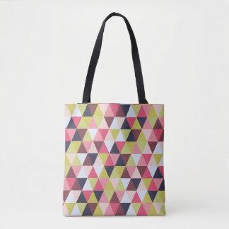 Tote colorido del triángulo (sobre todo rosas y bolso de tela