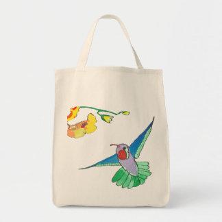 Tote colorido del ultramarinos del colibrí bolso de tela