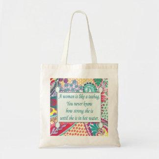 Tote de la inspiración de las mujeres chistosas, bolso de tela