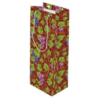 Tote de papel del vino de las uvas elegantes bolsa para vino