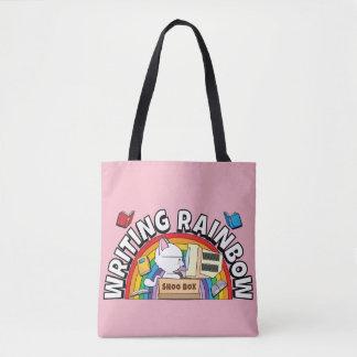 Tote del arco iris de la escritura bolsa de tela