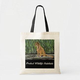 Tote del presupuesto del hábitat del guepardo bolso de tela
