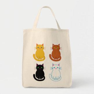 Tote del ultramarinos con cuatro gatos lindos bolsa tela para la compra
