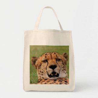 Tote del ultramarinos de la cara del guepardo bolsa tela para la compra
