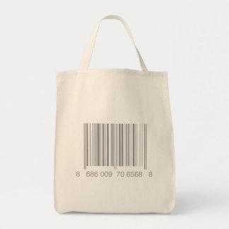 Tote del ultramarinos del código de barras bolsa tela para la compra