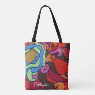 Tote floral abstracto brillante bolsa de tela