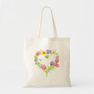 Tote floral de la acuarela bolso de tela