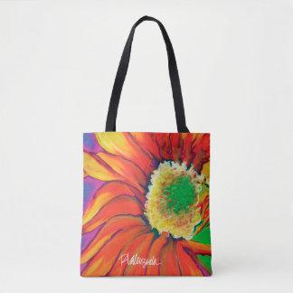 Tote floral del girasol brillante bolsa de tela