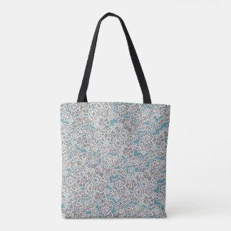 Tote floral del vintage gris bolso de tela