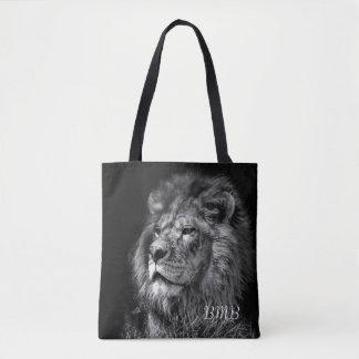 Tote joven orgulloso del monograma del león bolsa de tela