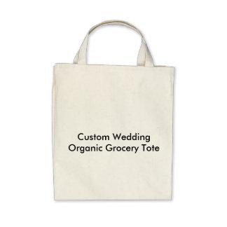 Tote orgánico del ultramarinos del boda de encargo