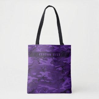 Tote púrpura oscuro de Camo con el texto de Bolsa De Tela