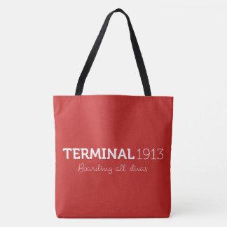 Tote rojo grande del terminal 1913 bolso de tela