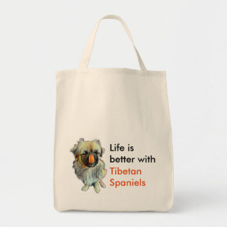 Tote tibetano del ultramarinos del perro de aguas bolsa tela para la compra