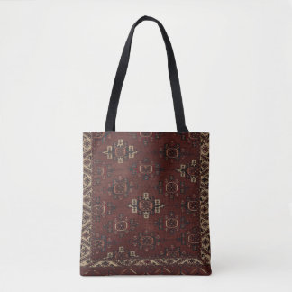 Tote turcomano principal de la alfombra de Yomut Bolso De Tela