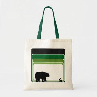 Tote verde retro de la silueta del oso y de las bolso de tela