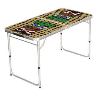 Tótem con el bambú mesa de pong